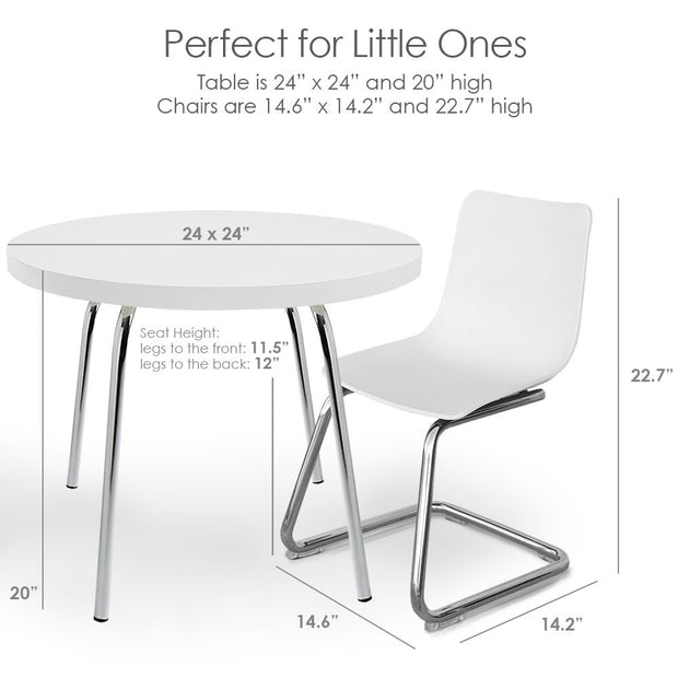 Dimension: P'kolino Modern Kids Round Table and Chairs - White