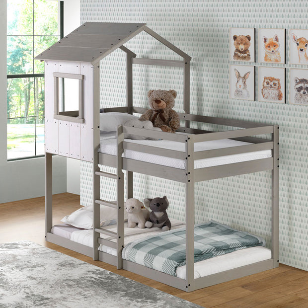 Tree House Bunk Bed – Rustic White Wall with Light Grey Roof and Frame