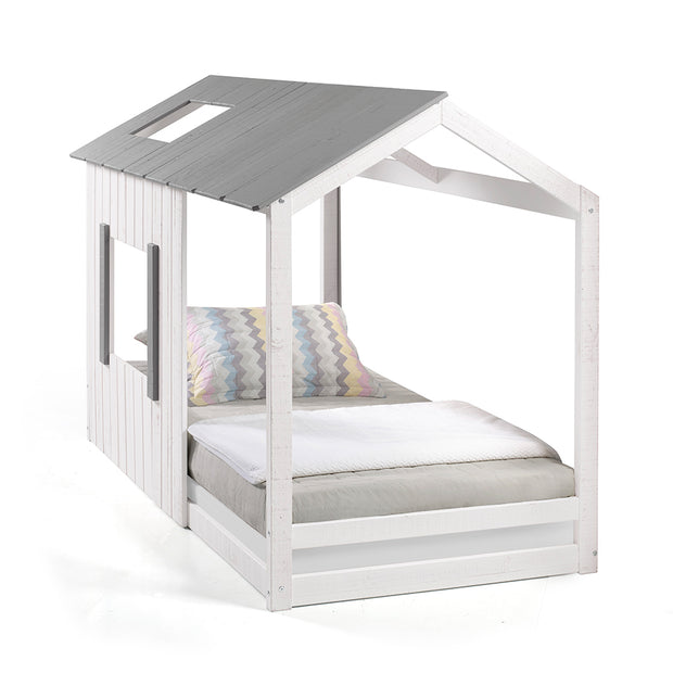 P'kolino Kid's House Twin Bed - White Wall & Frame with Dark Grey Roof