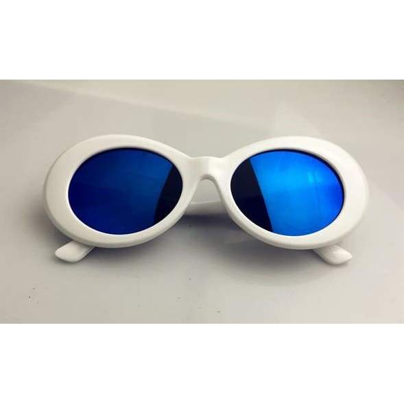 Clout Goggles / Glasses - white blue lense