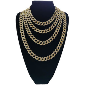 Costume Cuban Link Diamond Chain Silver and Gold