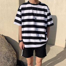 Men Streetwear Striped Tshirt