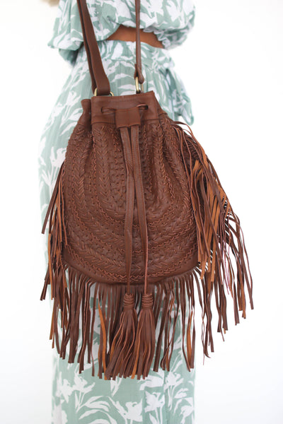 Mocha Aisha Large Fringe Bag