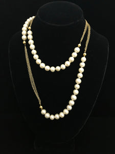 Freshwater Pearls & Gold Chain Necklace