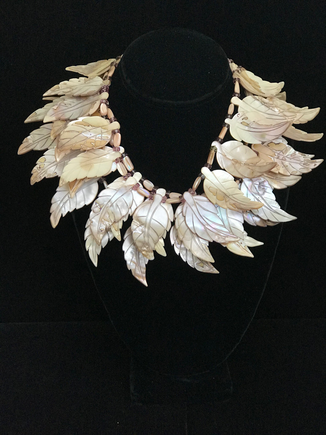 Mother of Pearl Leaves and Amatrine Necklace