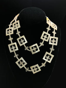 Mother of Pearl Squares and Clover Necklace