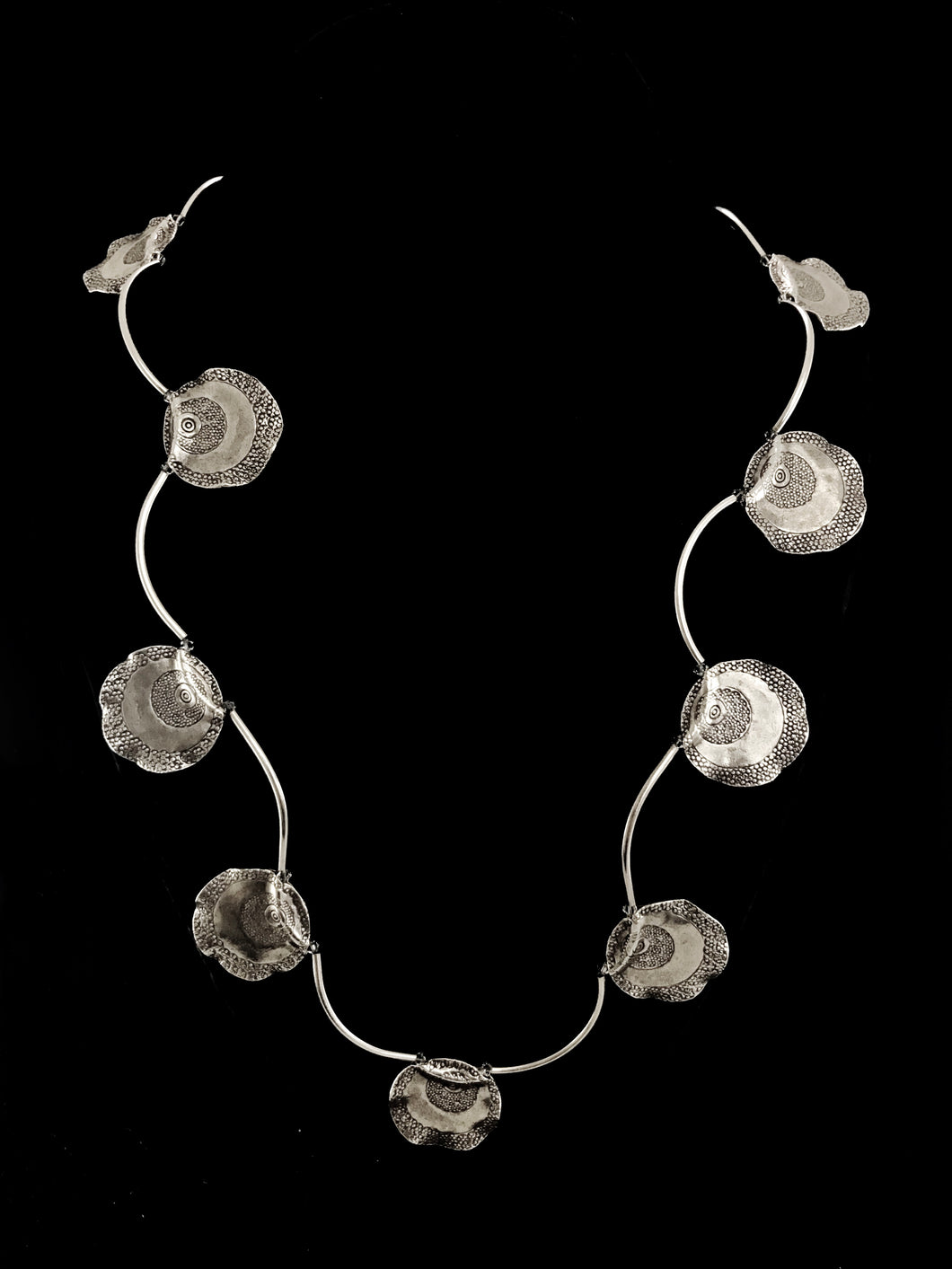 Silver Discs & Tube Necklace