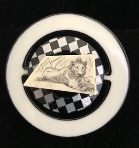Vintage Scrimshaw on Vintage Resin Magnet