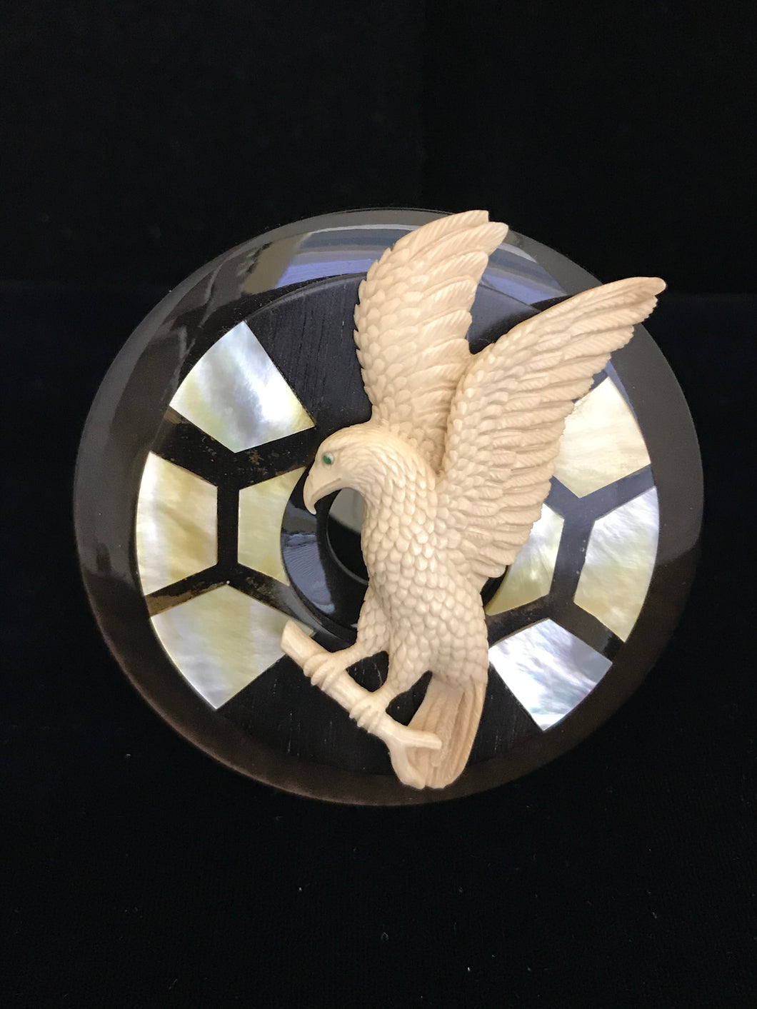 Mammoth Ivory Eagle on Inlayed Shell Magnet
