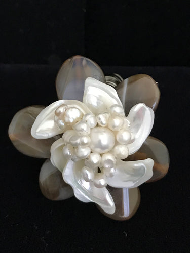 Mother of Pearl & Agate Wired Flower Magnet