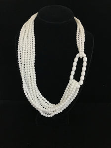 White Czech Glass Bead Necklace