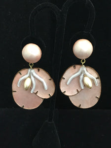 French Resin Dangling Coral and Pearl Earrings