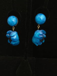 French Resin Dangling Folded Poppy Earrings