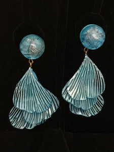 French Resin Dangling Leaf Earrings