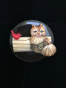 Bali Cat With Bird Magnet