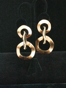 Brass & Black Dangling Circle Earrings