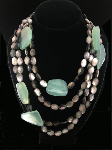 Gray Mother of Pearl with Chalcedony Chunks