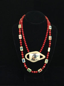 Coral Beads With Maj Jong Tiles & Hand Painted Gambling Chip Necklace