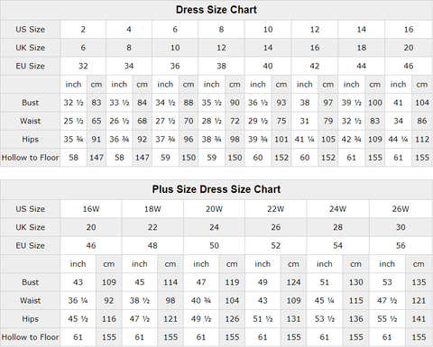 demidress size chart,all size for prom dresses in demidress