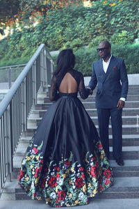 Two Piece Floral Prom Dress Black Lace Cheap Long Prom Dress #VB2138