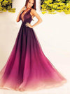 2018 A Line Prom Dress Modest Cheap Long Ombre Prom Dress #VB1801