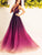 2018 A Line Prom Dress Modest Cheap Long Ombre Prom Dress #VB1801 - DemiDress.com