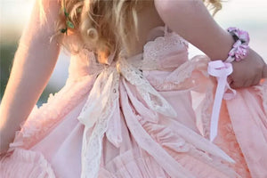 Pink Lace Flower Girl Dresses Cute Cheap Flower Girl Dresses #AB030