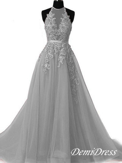2018 Long Prom Dress Halter Brush Train Simple Lace Prom Dress/Evening Dress #VB1044