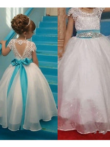 Ivory Ball Gown Flower Girl Dresses Lace Flower Girl Dresses #AB002