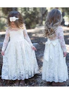 2018 Lace Flower Girl Dresses With Sleeves Cute Cheap Flower Girl Dresses #AB003 - DemiDress.com