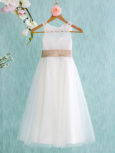 White Simple Flower Girl Dresses Cute Long Cheap Flower Girl Dresses #AB004