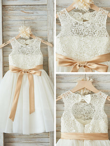 2018 Lace Flower Girl Dresses Ivory Cute Cheap Flower Girl Dresses #AB005 - DemiDress.com