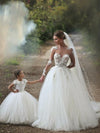 Ball Gown Ivory Flower Girl Dresses Lace Cheap Flower Girl Dresses #AB009