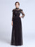 A-line High Neck Floor-length Long Sleeve Tulle Prom Dress/Evening Dress # AM217