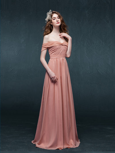 A-line Off-the-shoulder Floor-length Short Chiffon Prom Dress/Evening Dress # AM234