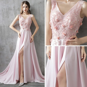 A-line Straps Sweep/Brush Train Sleeveless Satin Prom Dress/Evening Dress # AM351