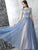 A-line Bateau Floor-length Sleeveless Tulle Prom Dress/Evening Dress # AM353