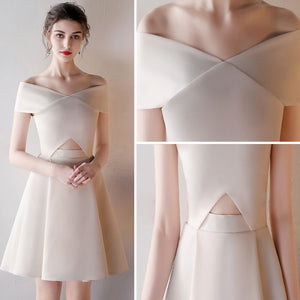 A-line Off-the-shoulder Short/Mini Short Satin Homedress/Short Prom Dress # AM355
