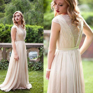 A-line Chiffon Long Bridesmaid Dress,Simple Prom Dress with Cap Sleeves,demi1551