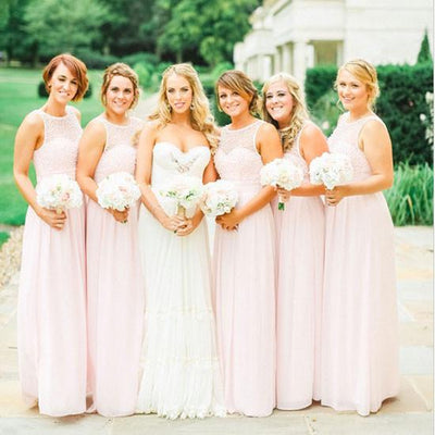 A-line Pearls Beaded Bodice Pink Chiffon Long Wedding Party Bridesmaid Dresses,demi1592