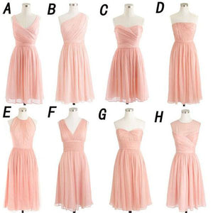 Blush Pink Chiffon Summer Wedding Bridesmaid Dresses,Simple Short Cheap Bridesmaid Gowns,demi1700