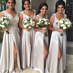 A-line Lace Appliqued Silver Satin Bridesmaid Dresses with Slit,Long Wedding Party Dresses,demi1822
