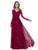 Lace Prom Dress V-neck Floor-length Long Sleeve Cheap Simple Burgundy Prom Dress # AX001