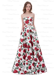 Two Piece Prom Dress Floral Strapless Floor-length Print Satin Popular Prom Dress/Evening Dress # AX003