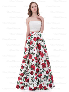 2018 Two Piece Prom Dress Floral Strapless Sinple Long Prom Dress # AX004 - DemiDress.com
