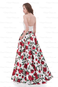 Floral Prom Dress Halter Floor-length Print Satin Two Piece Prom Dress/Evening Dress # AX005