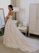 Chic Off The Shoulder Tulle Wedding Dress Ivory A Line Wedding Dress DM001