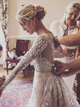 Long Sleeve Beading Wedding Dress Ivory A Line Wedding Gown DM002