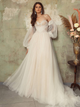 Off The Shoulder Tulle Wedding Dress Long Sleeve A Line Wedding Dress DM003
