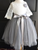 Round Neck Lace Top Grey Tulle Skirt Flower Girl Dress, Lovely Cheap Little Girl Dress #DM008